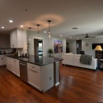 Mayan Hardwood for Contemporary Kitchen with Pendant Lights