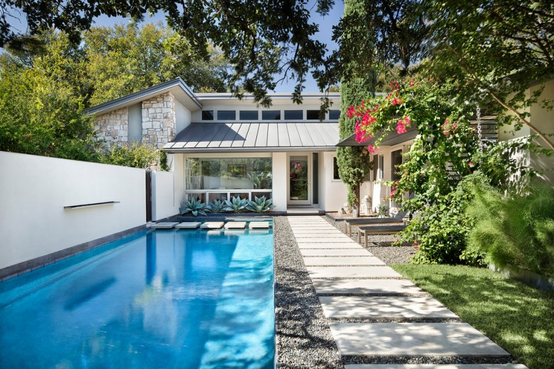 Mcelroy Metal for Contemporary Pool with Landscaping