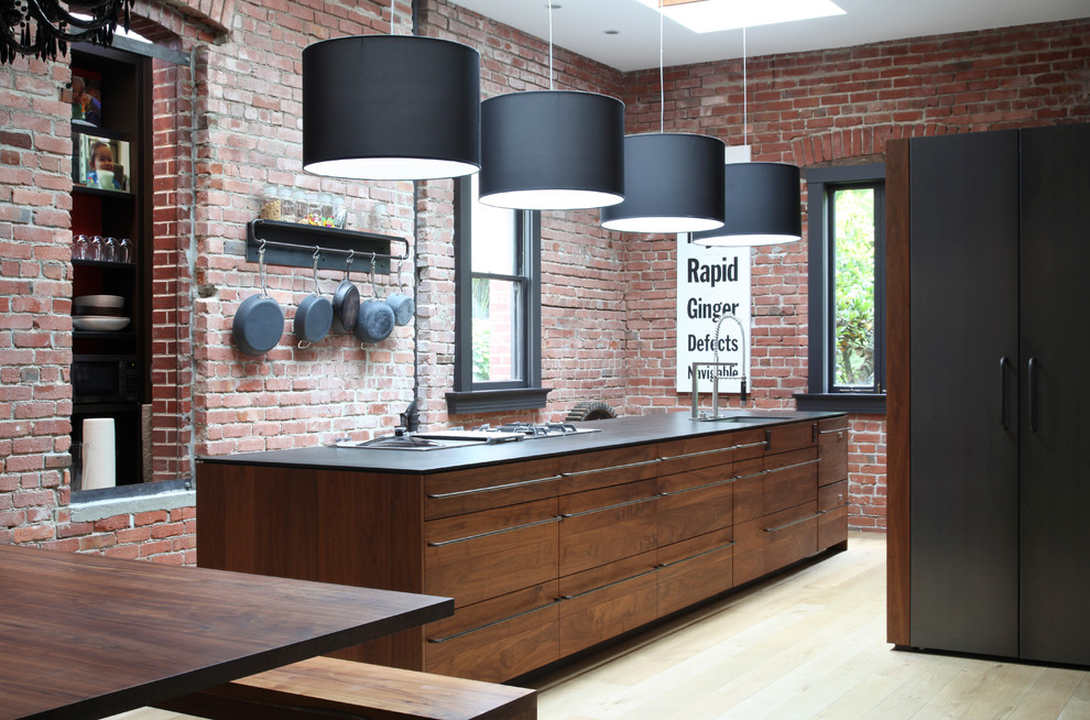 Mcnear Brick for Contemporary Kitchen with Walnut