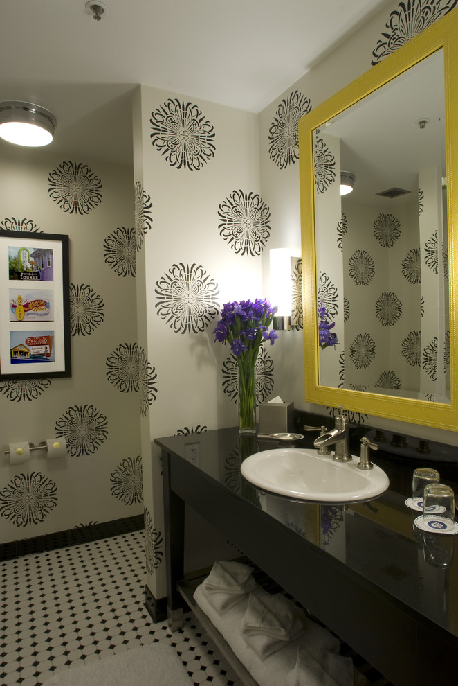 Mdc Wallcovering for Contemporary Bathroom with Single Sink