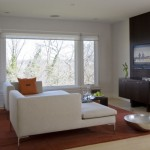 Mecho Shades for Contemporary Family Room with Glass Dining Table