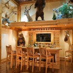 Medallion Homes for Rustic Home Bar with Exposed Beams