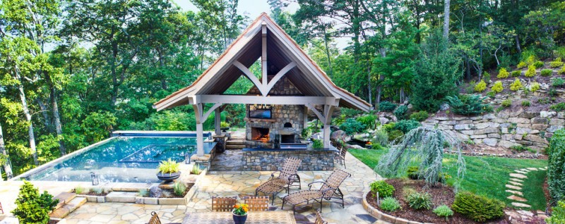 Medallion Pools for Traditional Patio with Outdoor Entertaining