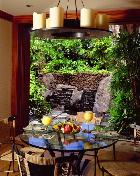 Meditation Oasis for Tropical Dining Room with Hualalai