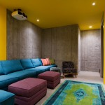 Melrose Park Theater for Contemporary Home Theater with Textured Concrete Wall