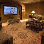 Melrose Park Theater for Traditional Home Theater with Brown Room