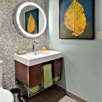 Menards Traverse City for Midcentury Powder Room with Blue Wall