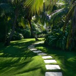 Miami Beach Botanical Garden for Tropical Landscape with Stone Pathway
