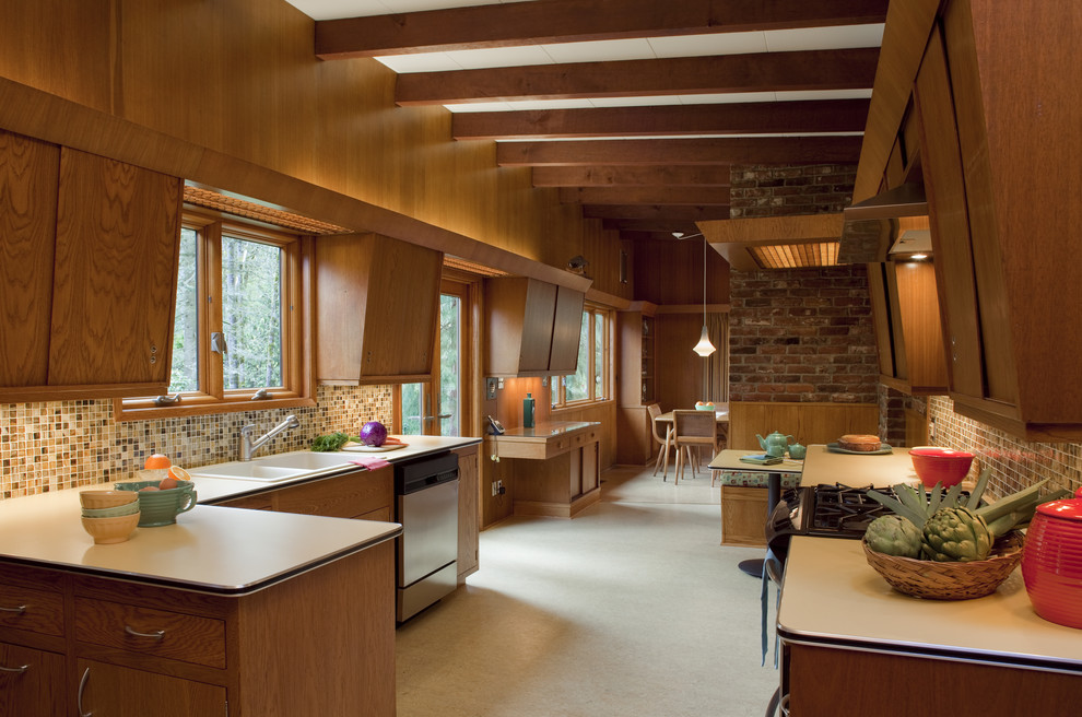 Mid Century Modern for Midcentury Kitchen with Casement Windows