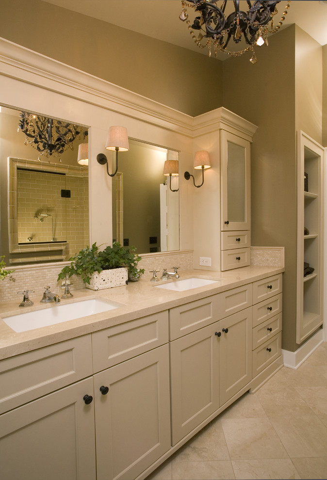 Mid Continent Cabinets for Traditional Bathroom with Double Vanity
