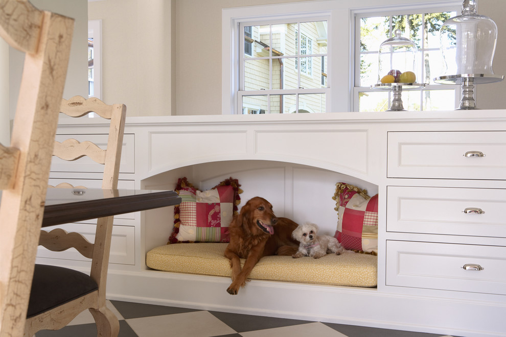Midwest Homes for Pets for Traditional Kitchen with White Cabinets