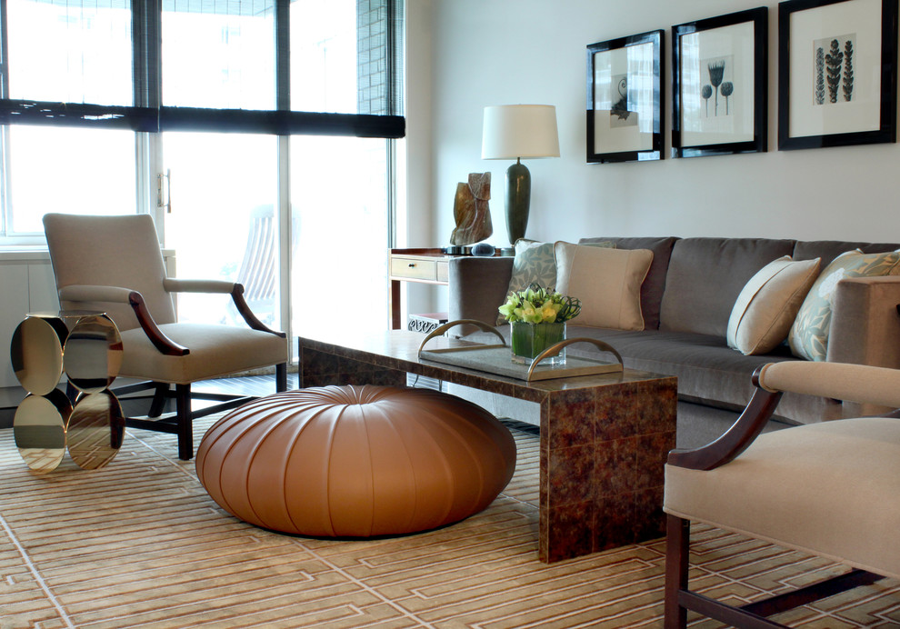 Minotti for Transitional Living Room with Roman Shade