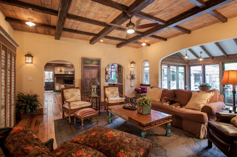 Minwax Colors for Rustic Living Room with Arches