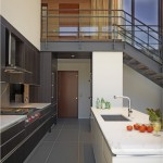 Mirage Flooring for Contemporary Kitchen with Modern Staircase