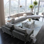 Mirage Flooring for Contemporary Living Room with Glass Walls