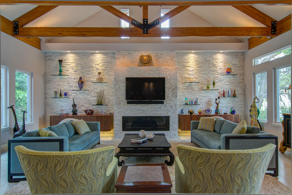Missing Piece Tampa for Contemporary Living Room with Modern Fireplace