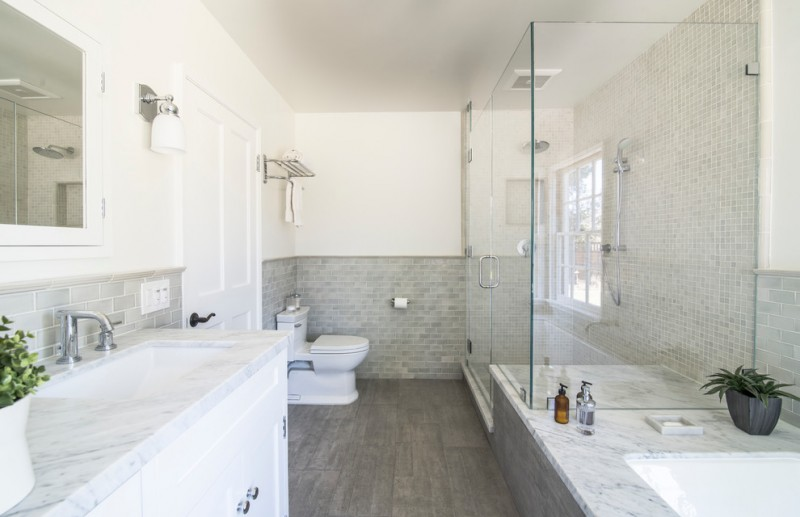 Mission Tile West for Traditional Bathroom with Towel Rack