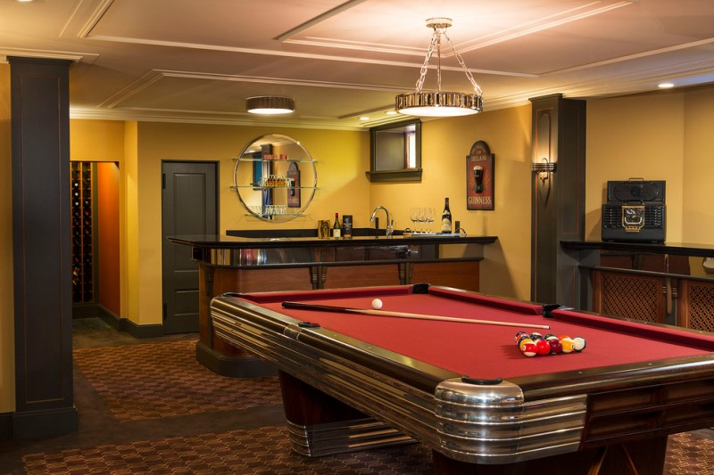 Monarch Pools for Traditional Basement with Red Pool Table