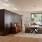 Monocoat for Contemporary Dining Room with Floor to Ceiling Light
