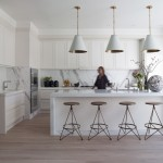 Monocoat for Contemporary Kitchen with White Pendants