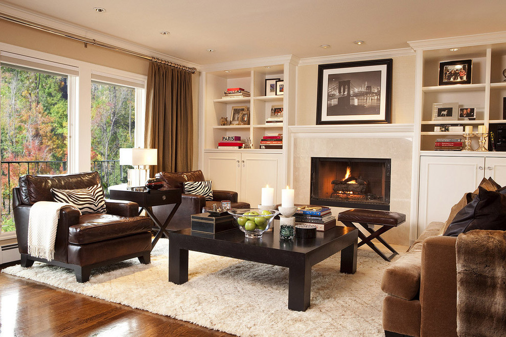 Monroe Bisque for Traditional Family Room with Leather Sofa