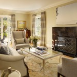 Monroe Bisque for Transitional Family Room with Fireplace
