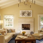 Monroe Bisque for Transitional Living Room with Vaulted