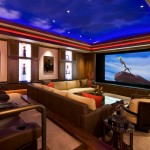 Morro Bay Theater for Traditional Home Theater with Leather Chairs