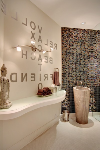 Mundo Tile for Contemporary Powder Room with Stencil