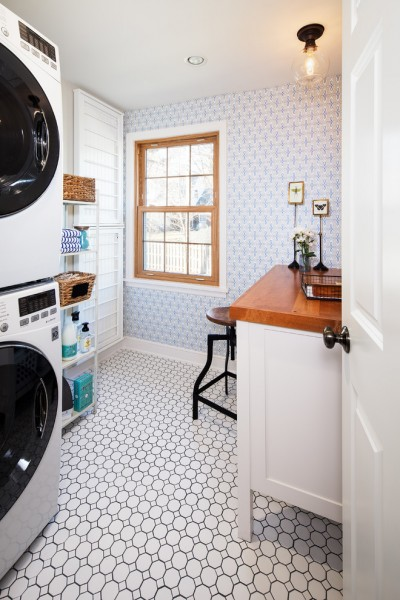 Nebraska Furniture Mart Omaha Nebraska for Traditional Laundry Room with Wallpaper
