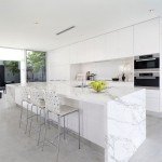 Neolith Countertops for Contemporary Kitchen with White Bar Stools