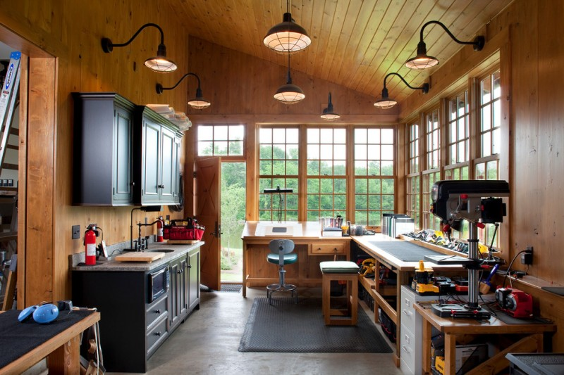 Nick Offerman Woodshop for Traditional Shed with Slanted Ceiling