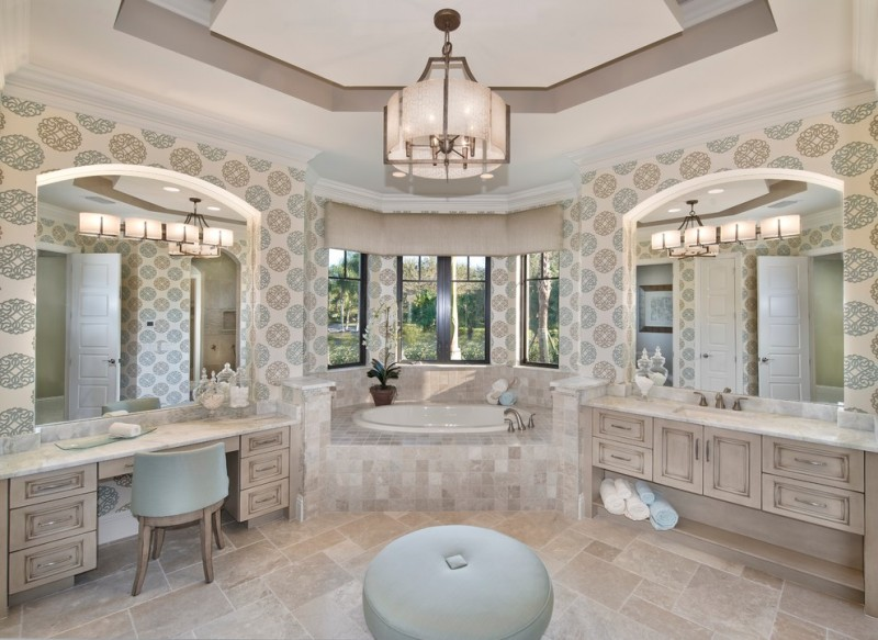 Norris Furniture for Mediterranean Bathroom with Tray Ceiling