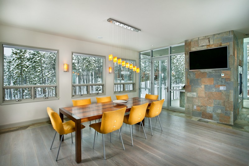 Ocher Color for Contemporary Dining Room with Glass Door