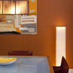 Ocher Color for Contemporary Dining Room with Glass Top Dining Table