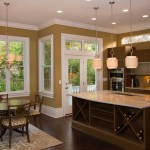 Ocher Color for Contemporary Kitchen with Dark Stained Wood Floor
