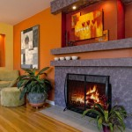 Ocher Color for Contemporary Living Room with Bright Color