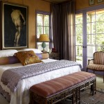 Ocher Color for Mediterranean Bedroom with Wall Decor