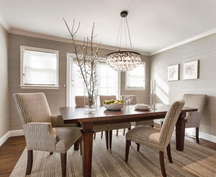Ochre Lighting for Contemporary Dining Room with Textured Area Rug