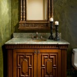 Oly Furniture for Mediterranean Powder Room with Custom Cabinet