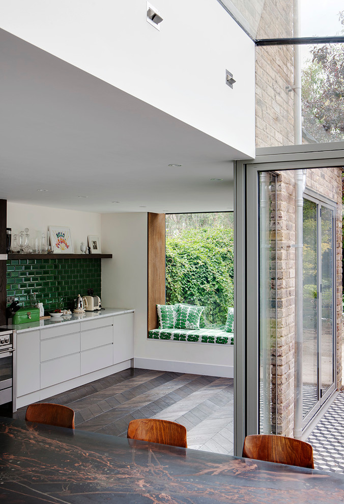 Oriel Window for Eclectic Kitchen with Green Subway Tile Backsplash