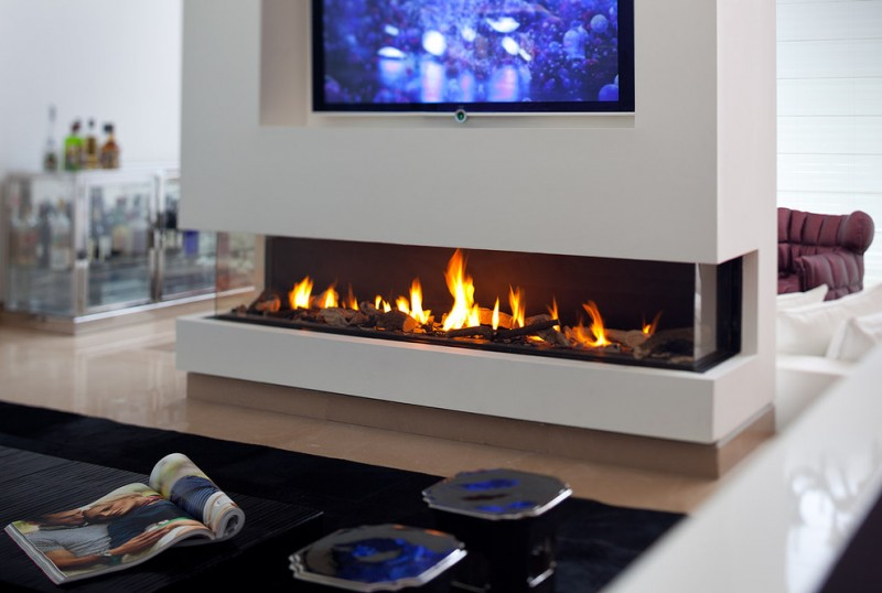 Ortal Fireplaces for Modern Family Room with Tv Above Fireplace