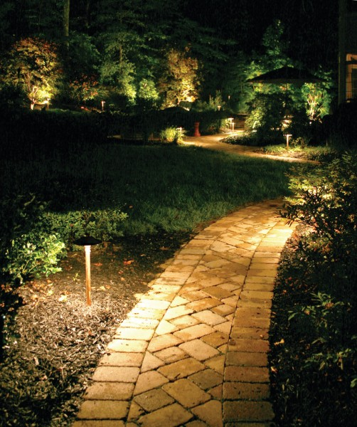 Outdoor Lighting Perspectives for Traditional Landscape with Pathway Lighting
