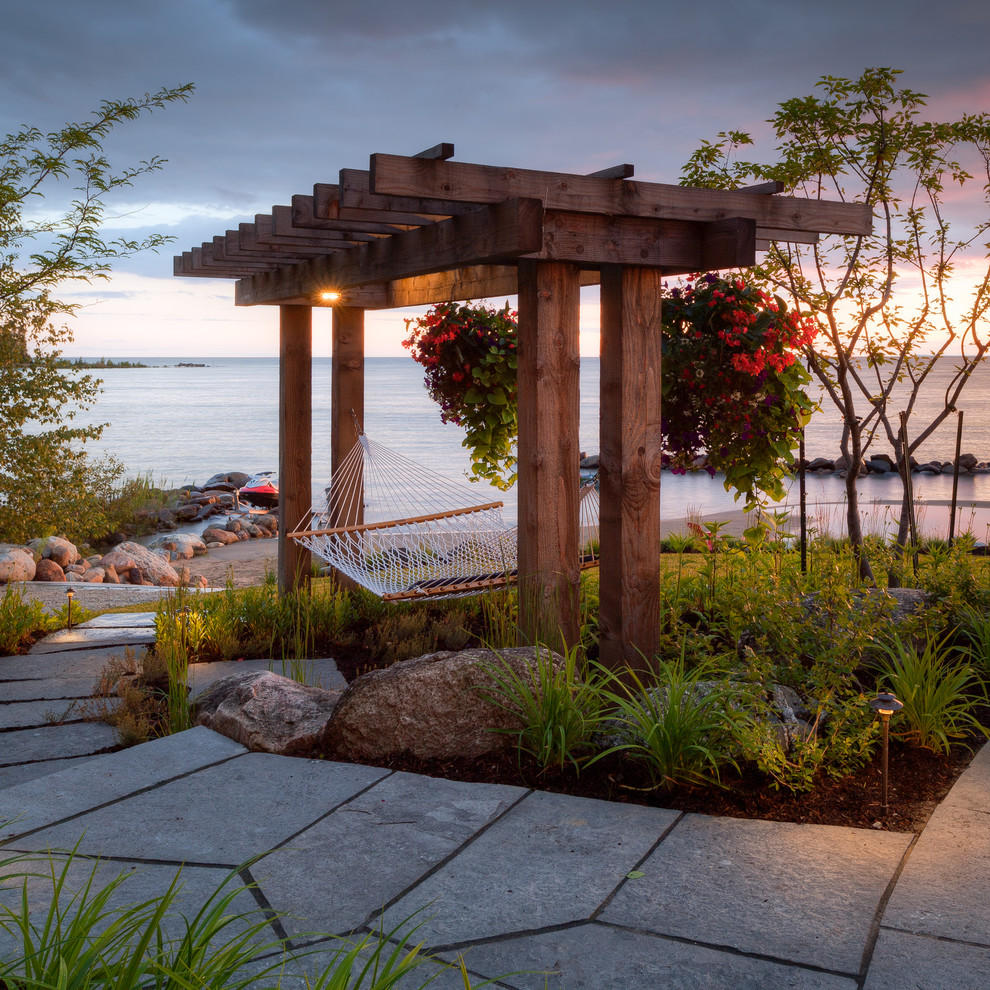 Padio for Beach Style Patio with Small Pergola
