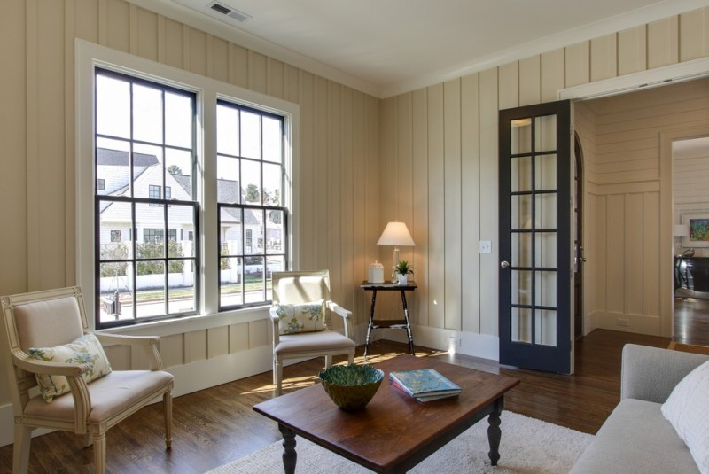 Painted Paneling for Traditional Living Room with Peg Legs