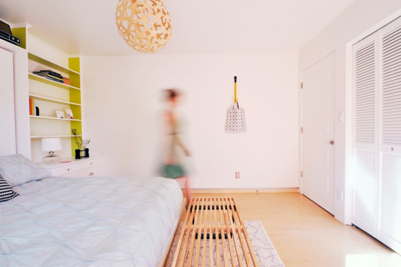 Painted Plywood Floors for Contemporary Bedroom with White Walls