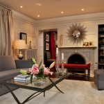 Painted Wood Paneling for Contemporary Living Room with Fireplace Built in Bookshelves