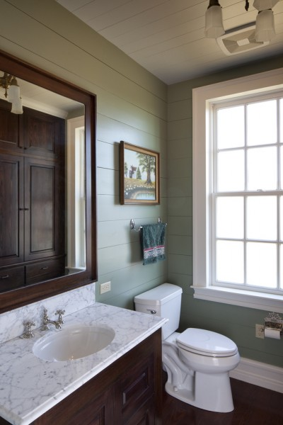 Painted Wood Paneling for Rustic Bathroom with Rehabilitation
