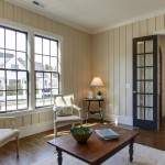 Painted Wood Paneling for Traditional Living Room with Dark Wood Coffee Table