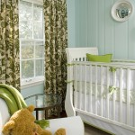 Painted Wood Paneling for Traditional Nursery with Glass Side Table